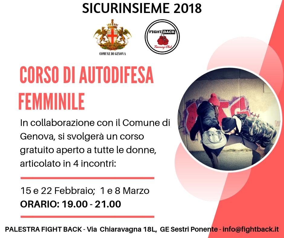 corso autodifesa per donne comune di genova sicurinsieme2018
